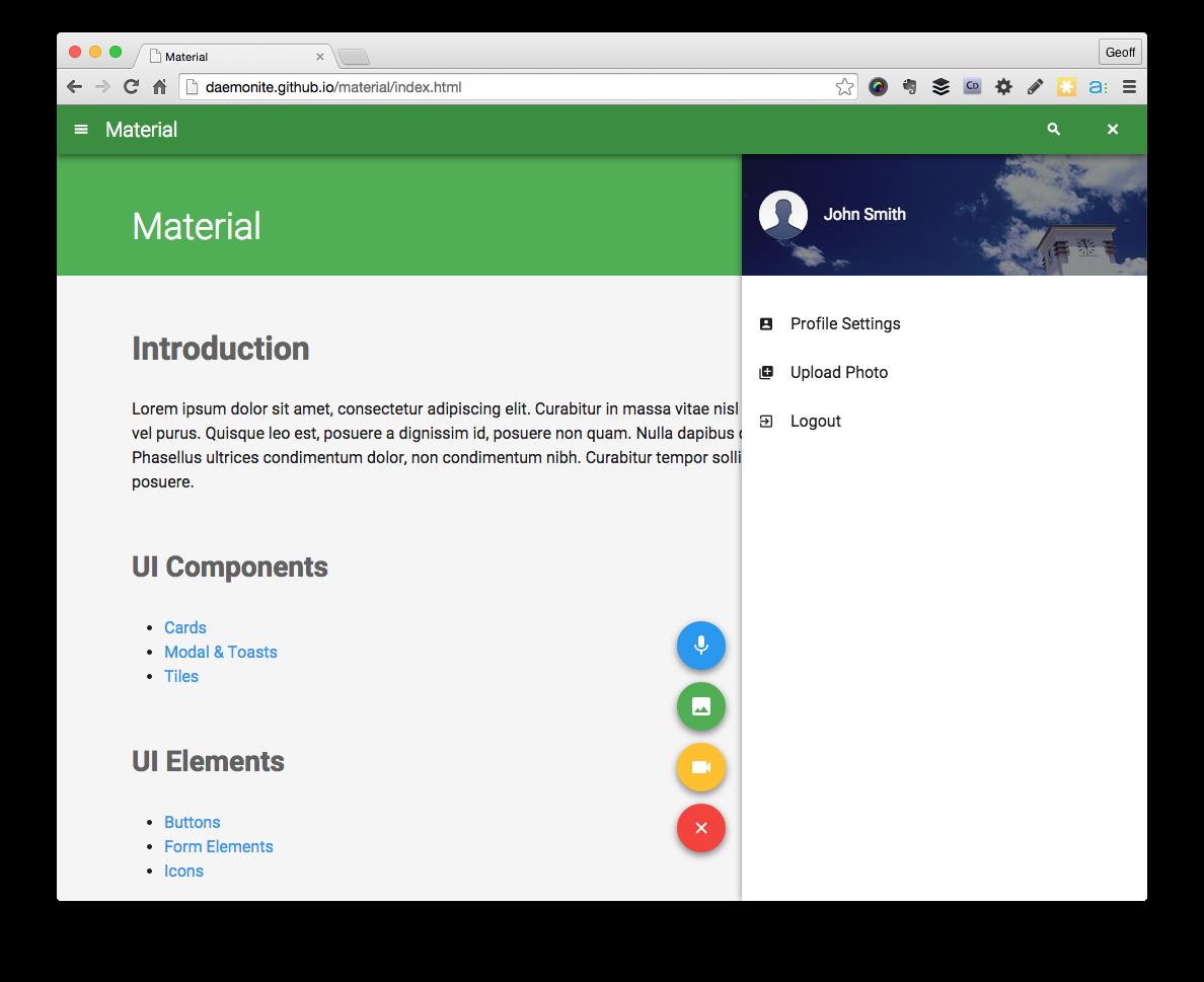 Material: HTML5 UI design based on Google Material - material